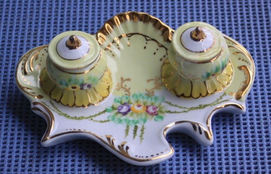 Limoges China Hand Painted Double Well Inkwell