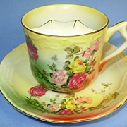 RS Prussia Large Mustache Cup and Saucer Rainbow Roses