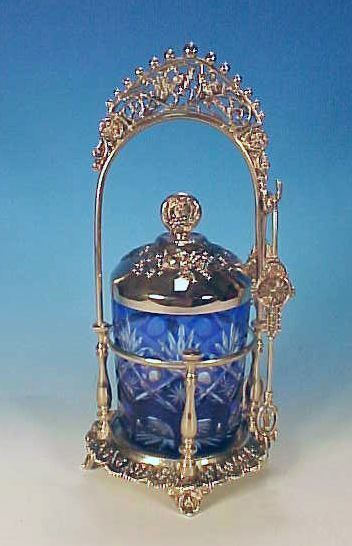 Blue Cut to Clear Glass Pickle Castor in Silverplate Holder with Grapes and Birds