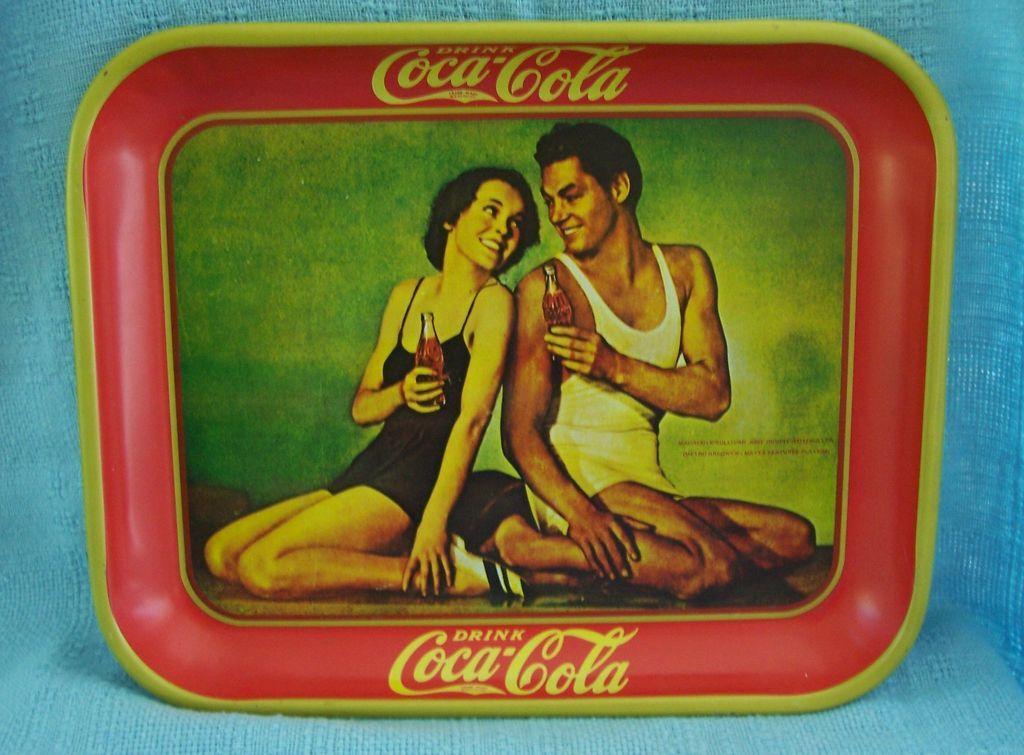 Coca Cola Advertising Metal Tray Johnny Weismuller & Maureen O'Sullivan