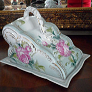 Limoges China Hand Painted Cheese Dish Pink Floral