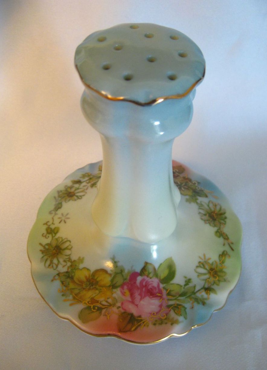 Porcelain Hat Pin Holder Marked RS in a Wreath