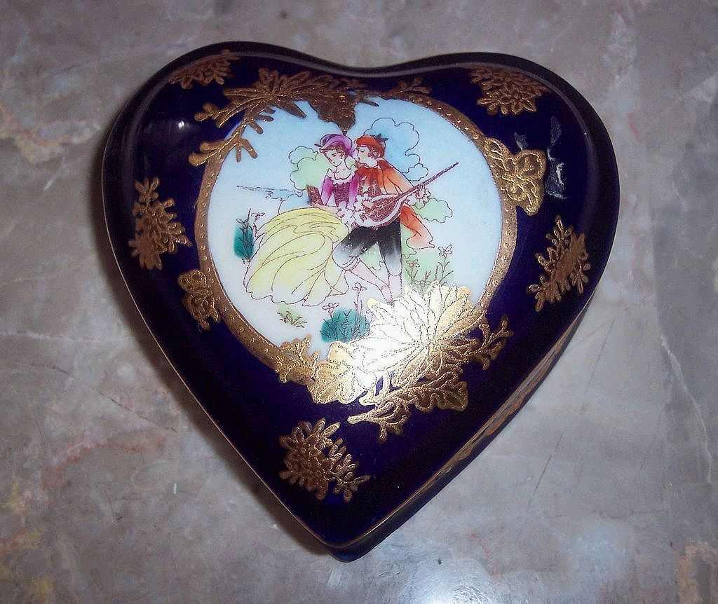 Heart Shaped Limoges Cobalt Blue Trinket Box - P.R.C
