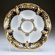Gilt Cobalt Oyster Plate Marked Limoges