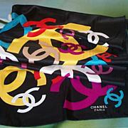 Multi-Color On Black Silk Scarf Chanel
