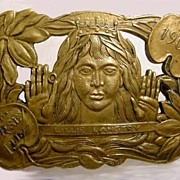 1901 Lillie Langtry Brass or Bronze Belt Buckle