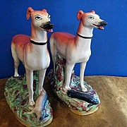 Pair of Antique China Porcelain Hand Painted Staffordshire England Greyhounds