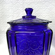 Cobalt Blue 'Mayfair' or 'Open Rose' Cracker Jar - Anchor Hocking