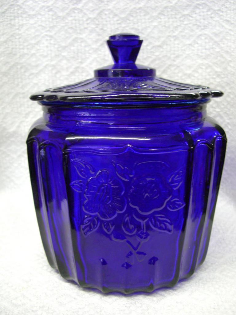 Cobalt Blue 'Mayfair' or 'Open Rose' Cracker Jar - Anchor Hocking