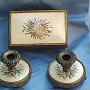 Brass Trinket Box and Candle Sticks with needlework