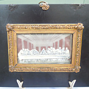 "Framed Wax Copy of DaVinci's ""The Last Supper,"" Victorian"