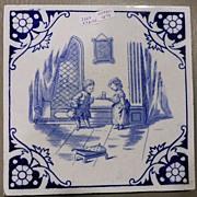 Minton Ceramic Tile, Victorian, Children's Tea Party
