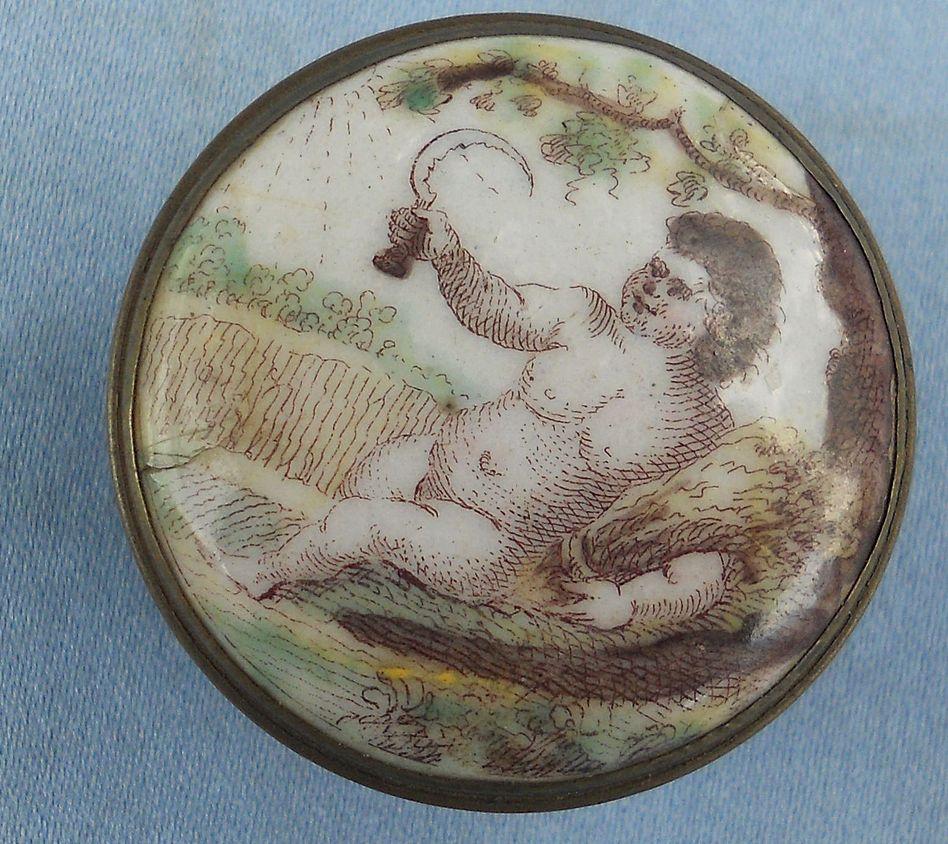 Battersea Bilston Enamel Box, Cupid, Georgian