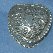 Heart Shaped Trinket Box, Silver, Victorian