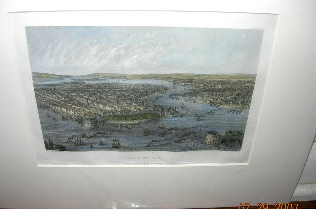 Print, colored, of New York City, Matted, Victorian