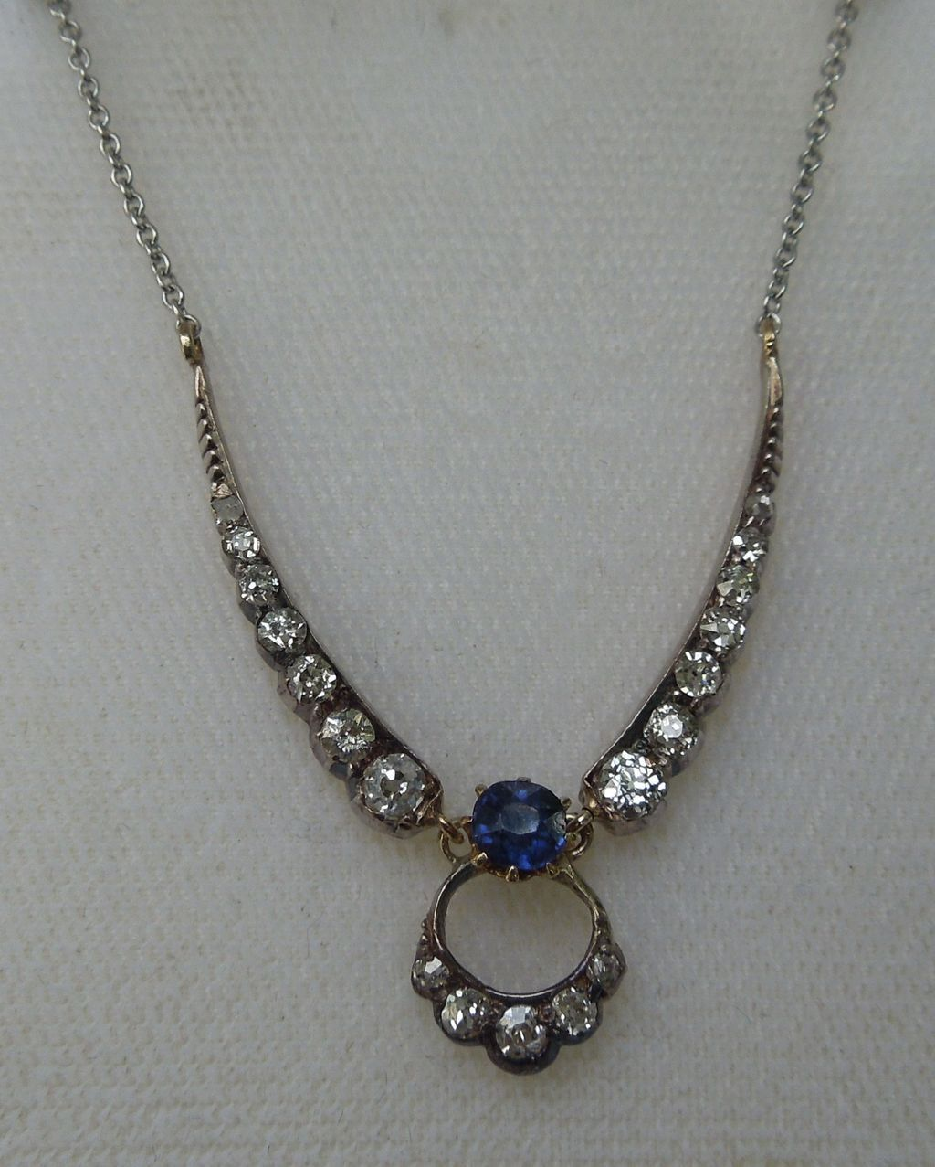 Rose Cut Diamond and Ceylon Sapphire Pendant, Late Victorian