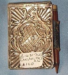 Silver and Leather Notebook With Pencil, 1907