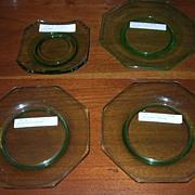 Decagon Blank, Green, Cambridge Glass, 4 Pieces