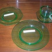 Cambridge Glass, Decagon Blank, Green 4 pieces