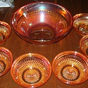 Carnival  Glass Berry Set, Old, Rib Pattern