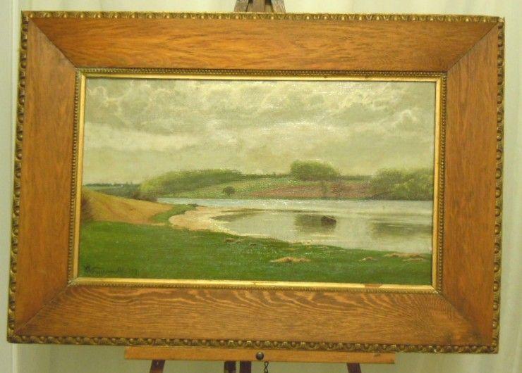 E. Wennerwald Denmark landscape  oil painting 1897