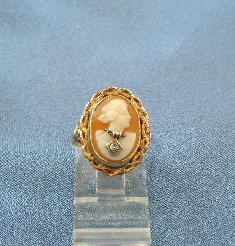 Cameo ring  habille female with diamond necklace 10k gold