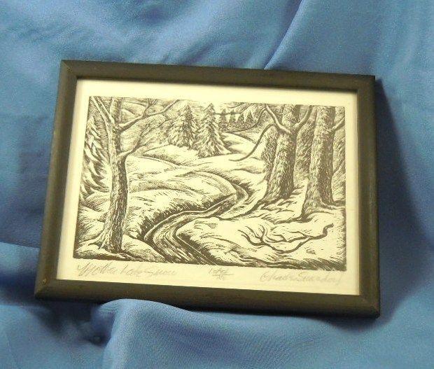 "Charles Surendorf ""Mother Lode Snow""  wood block print"