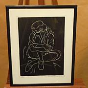 """""""Girl in Levis"""" by Charles Surendorf linoleum engraving"""