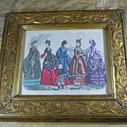 Godey's fashion print 1870 in carved antique gilt frame
