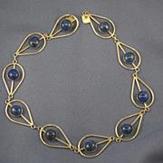 Cabochon lapis lazuli silver modernist necklace