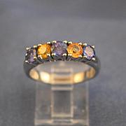 Tanzanite & yellow diamonds white gold ring 18K gold