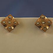 Seed pearl 10k  rose gold pierced earrings