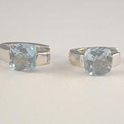 Aquamarine white gold pierced 14k gold earrings Italy