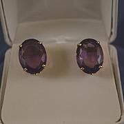 Large amethyst 14k gold pierced earrings
