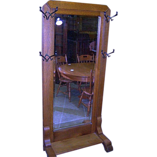 Oak Quarter Sawn Full Length Hall Mirror or Hall Tree