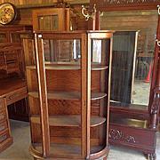 Oak Curved Glass China Cabinet, Paw Feet
