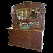 Oak Sideboard, American, Victorian, Ornate,