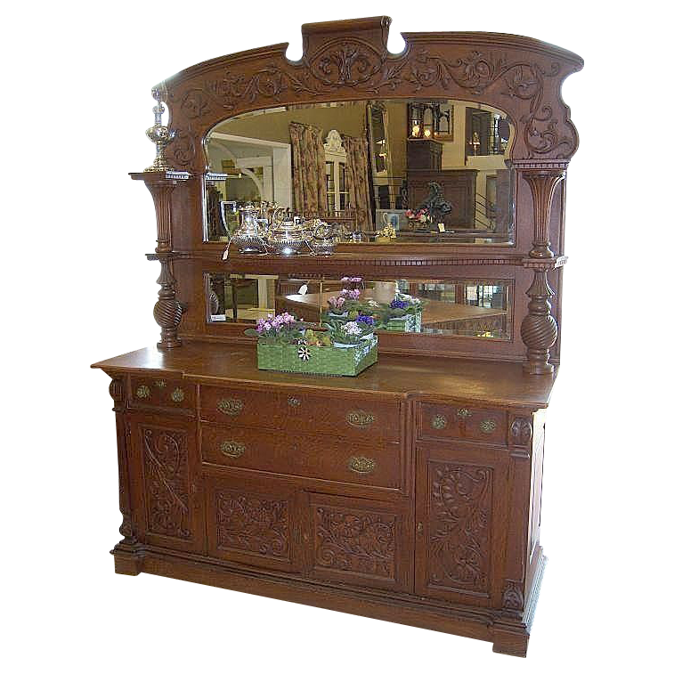 Oak Sideboard, American, Victorian, Ornate,