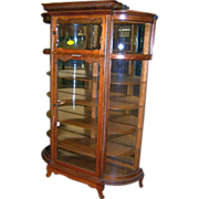 Oak Curved Glass China Cabinet, Two Doors, Carving