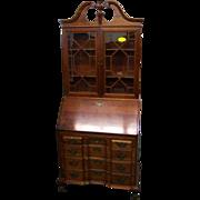 Chippendale Style Blockfront Secretary Desk w Bookcase Top, 20th c.