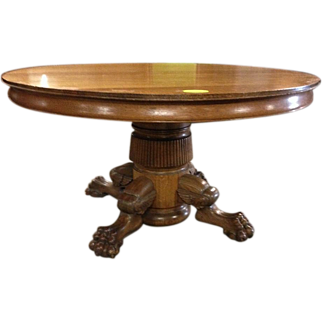 Oak Dining Table, Paw Foot, Pedestal, 54 inch, 5 Leaves
