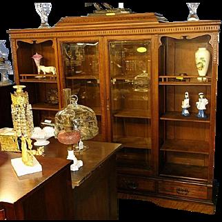 Walnut Eastlake Victorian Bookcase, Two Doors, Two Open Shelf Etagere Sections