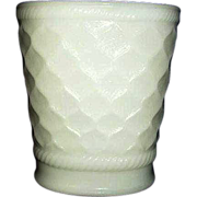 Brody Quilted Diamond Pattern Milk Glass Vase