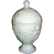 Avon Milk Glass Domed Footed Covered Dish 1960s
