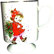 Lefton Exclusives Footed Cup Christmas Girl in Red with Holly