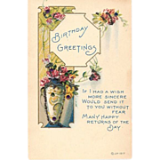 1917 Embossed Birthday Glitter Post Card