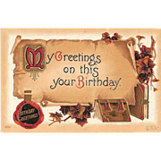 1912 Embossed Birthday Post Card ~ Parchment Scroll and Vintage Books