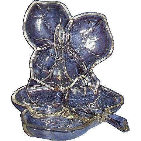 Hazel Ware Clear Glass 3-Section Leaf Dishes ~ Hazel Atlas