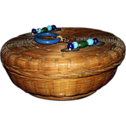 Sewing Notions Basket, Peking Glass Beads and Chinese Coins ~ 1920's