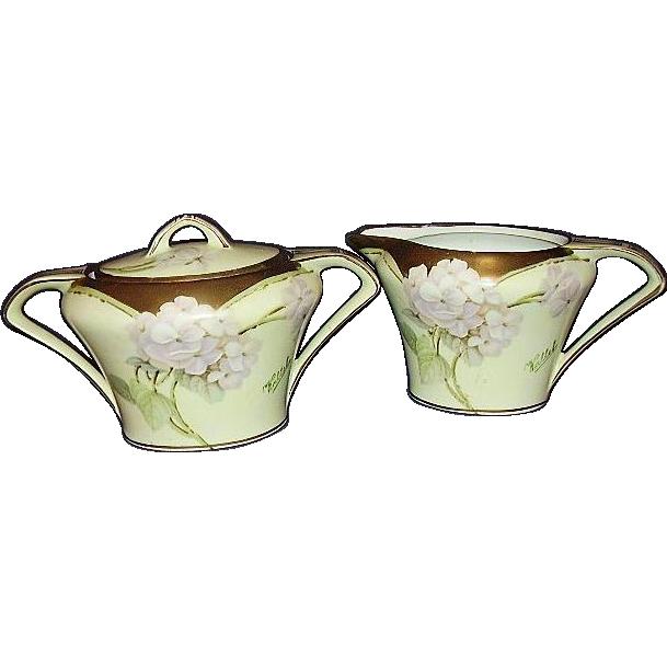 Art Deco German Porcelain Sugar Creamer Set 18K Gold Trim 1920s Handpainted Signed